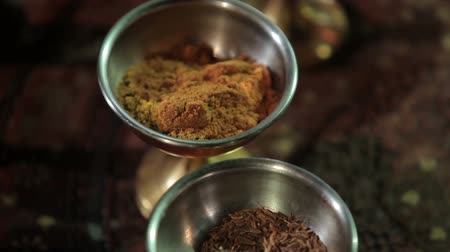 spices : Spices and flavoring in the indian cuisine Stock Footage