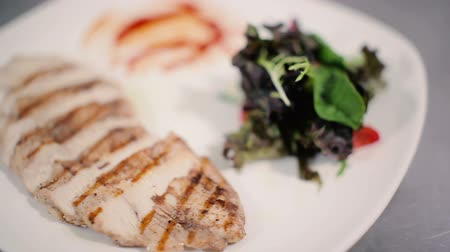 healthyfood : Read the close-up of chicken steak with salad.