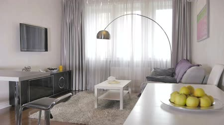 daireler : Stylish living room in a new apartment Stok Video