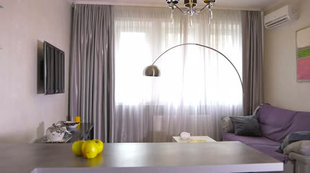 daireler : Beautiful modern living room in the stylish apartment Stok Video