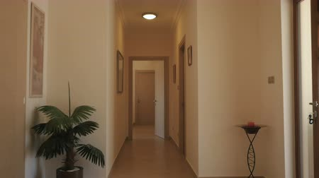 прихожая : Long corridor with wooden doors