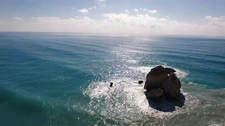 outside view : A portrait of the ocean with large rocks Stock Footage