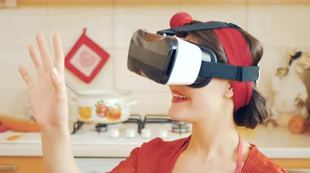 pinup : Portrait of pin-up girl in virtual reality glasses Stock Footage