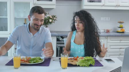 resent : Quarrel of married couple during breakfast Stock Footage