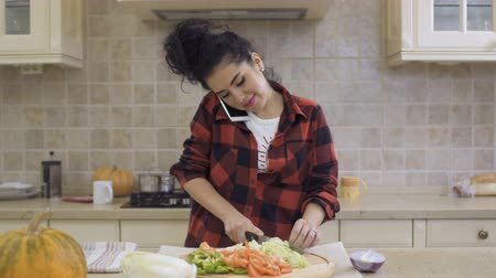 домохозяйка : Young brunette cooks dinner at kitchen and talks on phone