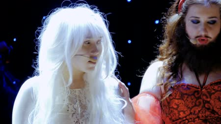 greasepaint : Bearded girl and albino girl sing sad song about their hard lives Stock Footage