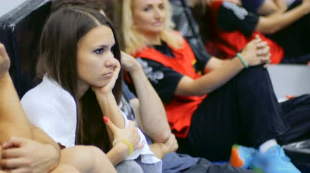 workgroup : Sportswomen listens coach in the gym