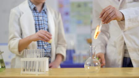 zapalovač : Chemist and his laboratory assistant makes experiment with egg and fire