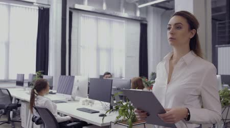 financiamento : Beautiful businesswoman walks in office