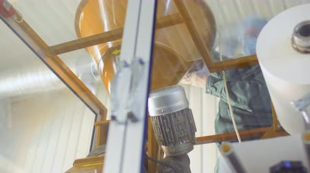 cutted : Worker pour out dry tea into machine Stock Footage