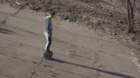gyroscope : Boy moves down on the slope with gyroscope
