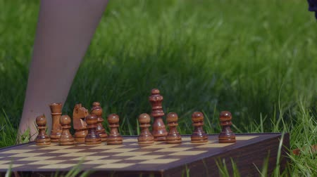 rook : Boy put chess pieces at chessboard