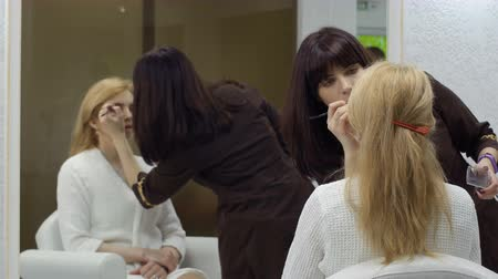 apply : Visagiste applies eyeshadows on eyes of adult woman, makeup room Stock Footage