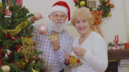 мотылек : Married mature couple decorate Christmas tree at home