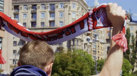 real madrid : Kyiv, Ukraine, May 26, 2018 - Fan with red scarf - Champions League 2018 Stock Footage