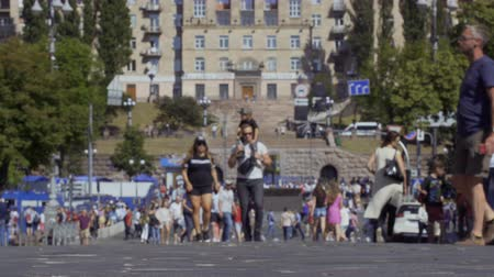passerby : KYIV, UKRAINE - MAY 26, 2018 - Walking people at the main street Stock Footage