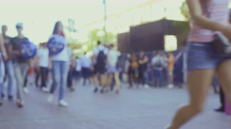 passerby : Walking blurred people outdoors Stock Footage