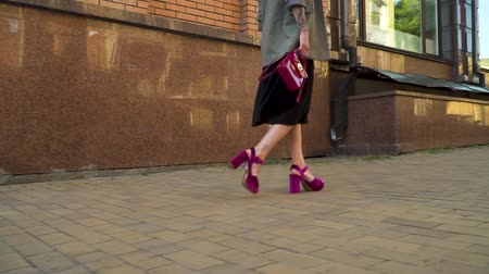 high heel shoe : Fashionable brunette in stylish clothes and shoes walking at the street