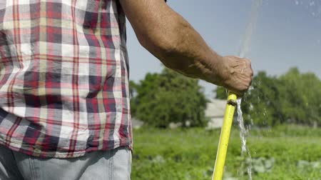 squirting : Gardener watering green meadow in slow motion using water hose