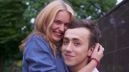 teen age : Beautiful couple in love in the park