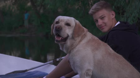 cur : Young boy and dog outdoors Stock Footage