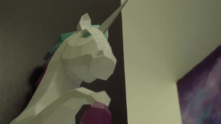 мифический : Beautiful sculpture of a unicorn Стоковые видеозаписи