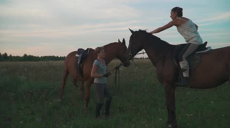верхом : Two girls with horses on the field Стоковые видеозаписи