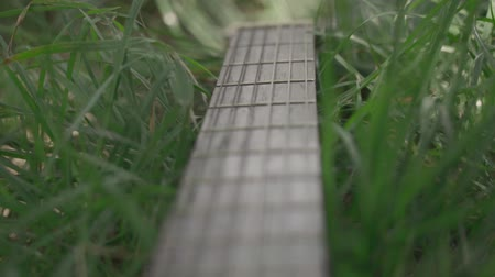 strum : Acoustic guitar on green grass