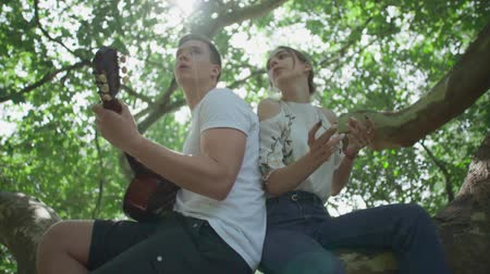 batida : Young couple with a guitar in the park Stock Footage