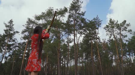 tiro com arco : Girl in a red dress launched an arrow into the sky