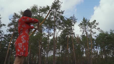 tiro com arco : Girl in red dress practice in shooting in forest