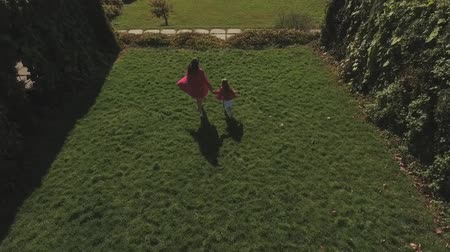 hasonló : Mom and her small daughter walk in the park. Shot on drone