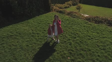 benzer : Little girl and her mother wave hands and send air kiss to camera. Shot on drone