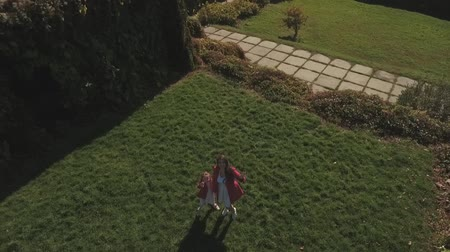 benzer : Daughter and mother wave hands on camera. Shot on drone Stok Video
