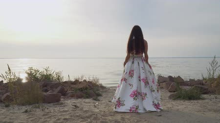 liberal : Pretty girl in a long beautiful dress walks by the river