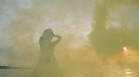 liberal : Charming girl in evening dress in color smoke Stok Video