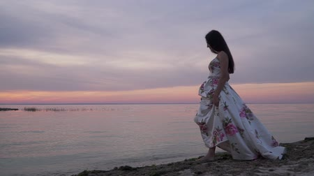 liberal : Sweet young girl in a long dress by the river