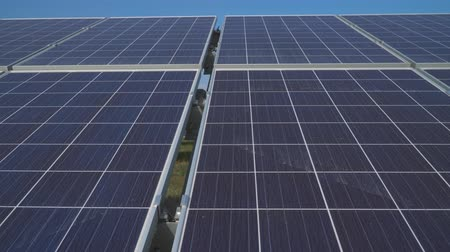 enviroment : Close up of solar panels in solar power station Stock Footage