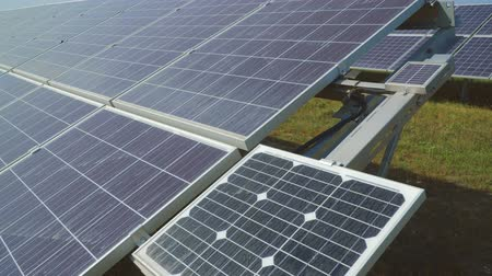 enviroment : Perspective view on solar panels Stock Footage