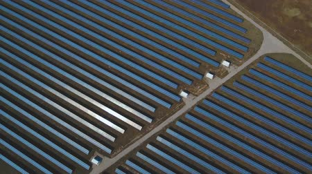 enviroment : View of the solar power station from a height. Shot on drone Stock Footage