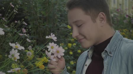 conventional : Young gay enjoying the smell of flowers Stock Footage