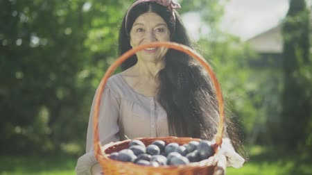 imitates : Old smiling woman holding a basket with plums