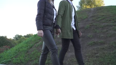 tomar : Young couple holding hands and walking outdoors. Shooting from behind.