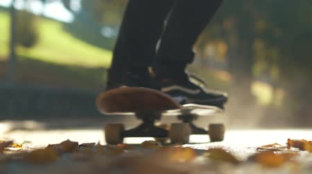 paten yapma : Alone skateboarder man rides a skateboard on the fallen leaves outdoors. Focus on foreground. Slow motion.