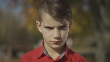 rendes : Portrait of a little boy looking at first sad and then smiling. Cute child in a red shirt spends time outdoors. Sadness and smile.