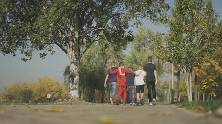 acceptance : Company of boys hugging walks in the park Friends spend time together