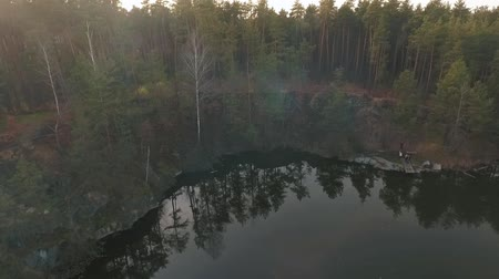 yüksek ova : Forest landskape with a lake. People near water waching a beautiful view. Shooting from the drone. Stok Video