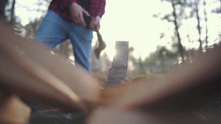 heating up metal : A guy chops wood with axe in forest. Slow motion. Stock Footage