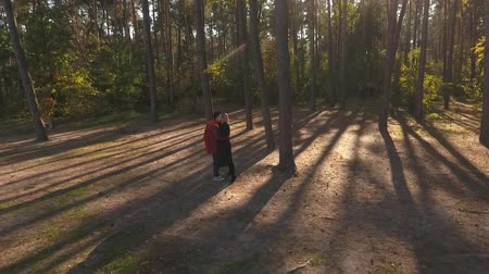 příloha : View from above on a couple kissing in a pine forest in sunset light. A loving interracial couple have a date and hugs. Shooting from the drone. Slow motion.