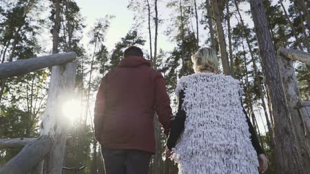 приложение : Young guy and the girl hold the hands and climb the wooden stairs and walk through the forest. Young couple spends time together outdoors. A couple spends time out of town. Slow motion.